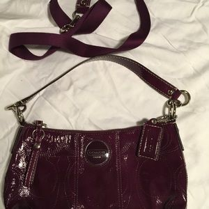 Coach small patent leather handbag. Purple.